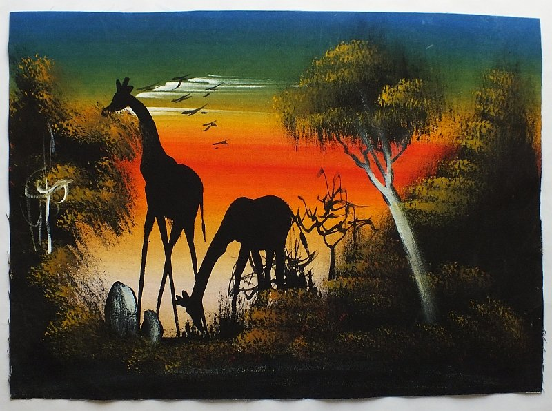 bild mit giraffen handgemalt auf leinwand 35 x 49 cm aus s dafrika 2. Black Bedroom Furniture Sets. Home Design Ideas
