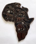 Holzrelief Kontinent Afrika Big Five - Wandschmuck Nr. 611