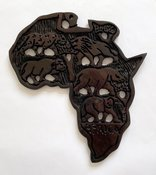 Holzrelief Kontinent Afrika Big Five - Wandschmuck Nr. 614